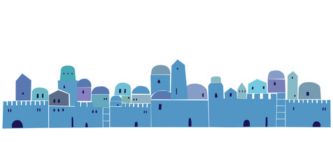 Old City, Middle East Town, religion,  Illustration