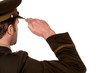 Rear view of male army soldier saluting