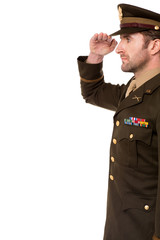 Side view of military officer salutation