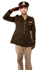 Army officer saluting, studio shot