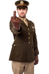 Angry army officer showing middle finger