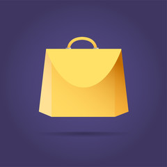 Yellow colored vector bag icon