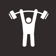 Gym men vector icon isolated on white