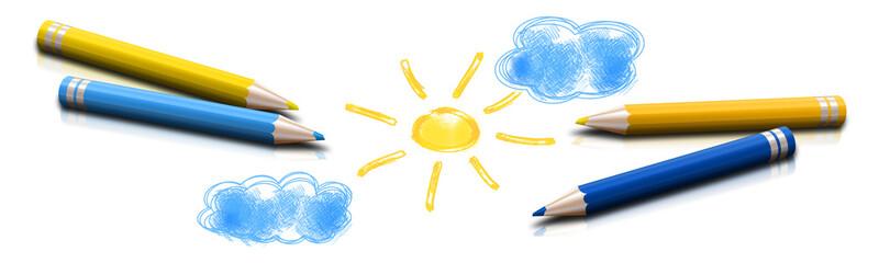 Słońce i chmury rysowane kredkami