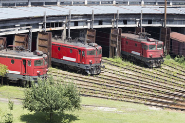 Red locomotives