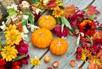 Halloween pumpkins and fruits decoration