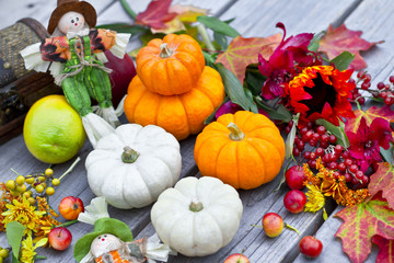 Halloween pumpkins and autumn leaves decoration