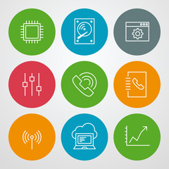 Vector line icons set. For web site design and mobile apps