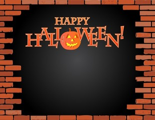 happy halloween brick wall illustration design