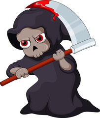 Cute cartoon Grim Reaper with a bloody scythe