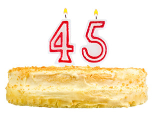 birthday cake with candles number forty five isolated on white