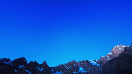 Night-dawn in the mountains. TimeLapse. Pamir, Tajikistan. 4K