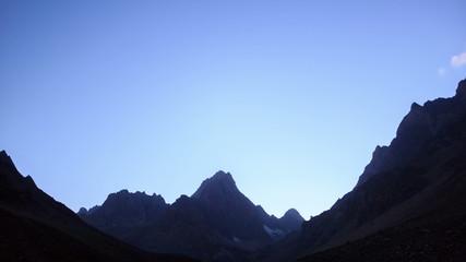 Moon illuminates the mountains. TimeLapse. Pamir. UltraHD (4K)