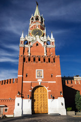 Spasskaya tower on Red Square, Moscow, Russia