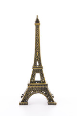Eiffel Tower toy isolated on white background