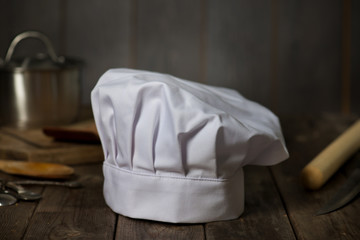 chef hat with kitchen settings and rustic look