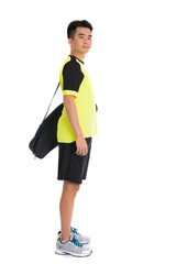 asian badminton chinese player with bag in white background