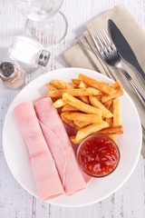 ham, french fries and ketchup