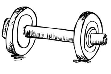 Hand draw sketch of dumbbell