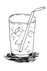 Doodle Glass with Ice Cube and Straw