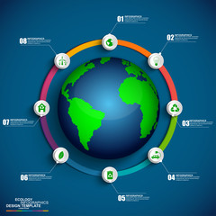 Ecology concept infographic vector design template