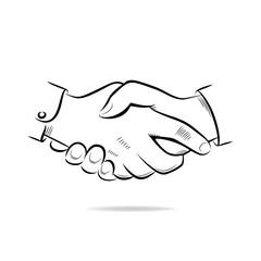 Hand shake vector sketch