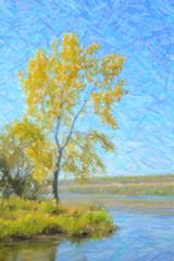 Autumn landscape. Yellow tree next to the river. Digital structu