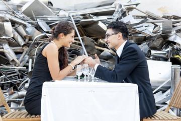 romantic dinner in junkyard