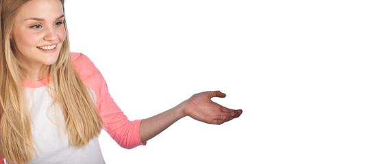 Scandinavian cute young girl with arm like showing something