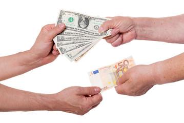 money exchange dollars for euros