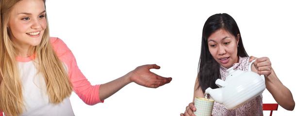 Scandinavian cute young girl with arm showing an asian girl serv