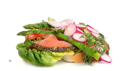 Danish open sandwich, smoked salmon on white bread