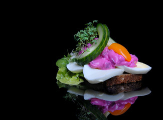 Danish open faced sandwich with egg and beetroot  salad