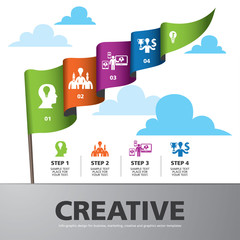 info graphic Template with colorful flag banner for business