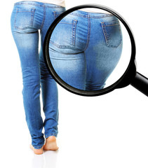 Woman in blue jeans isolated