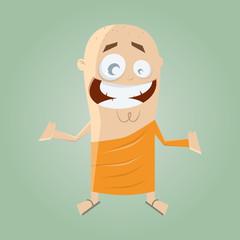buddhistisch mönch mann lustig religiös