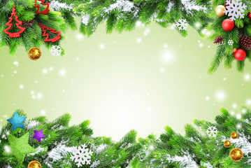 Classic Christmas card with tree leaves and decorations