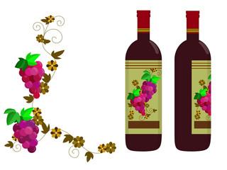 赤ワインとブドウの枠