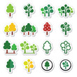 Trees, forest, park vector icons set