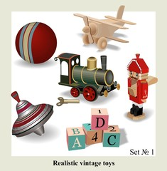 Beautiful set of isolated realistic vintage toys for kids