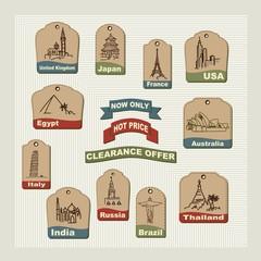 Set retro  vacation & travel labels