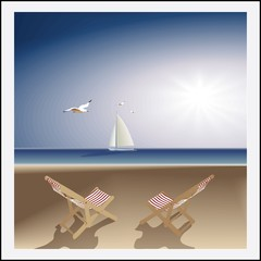 Seascape. evening  beach lounge chairs sailboat and seagulls