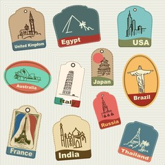 Pattern of vintage retro grunge vacation & travel labels