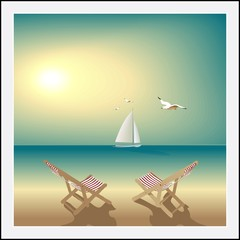 Seascape deserted beach  lounge chairs sailboat and seagulls