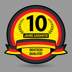Label with the text 10 years guarantee written inside