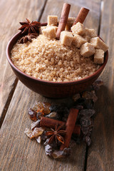 Brown sugar cubes, reed and crystal sugar in bowl