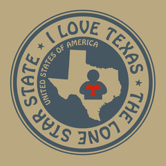 Stamp with text I Love Texas inside, vector illustration