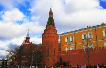 Tower Of Moscow Kremlin and Kremlin wall