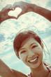Chinese Asian Woman Girl Hand Heart Finger Frame