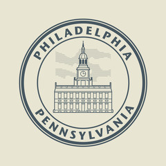 Stamp with name of Pennsylvania, Philadelphia, vector